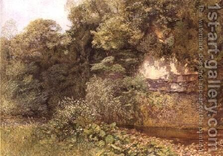 A Still Pool Below Rocks by Alfred William Hunt - Reproduction Oil Painting