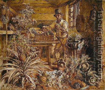 A Gardener in a Potting Shed with Pineapples and Various Vegetables by Alfred William Hunt - Reproduction Oil Painting