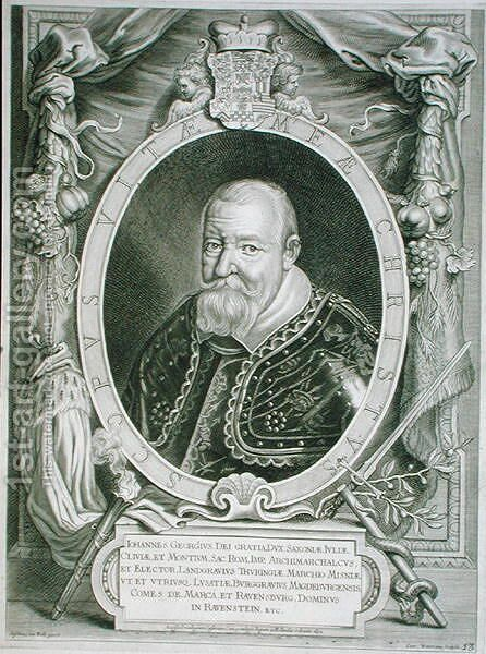 John George I 1585-1656 Elector of Saxony by (after) Hulle, Anselmus van - Reproduction Oil Painting