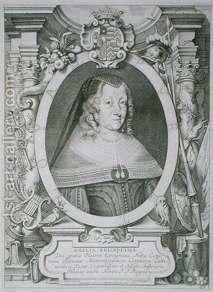 Amalie Elisabeth of Hanau Muntzenberg 1602-51 by (after) Hulle, Anselmus van - Reproduction Oil Painting