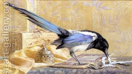 Still Life with a Magpie by Clementina M. Hull - Reproduction Oil Painting
