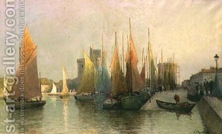 Harbour scene by Jacques Huillier - Reproduction Oil Painting