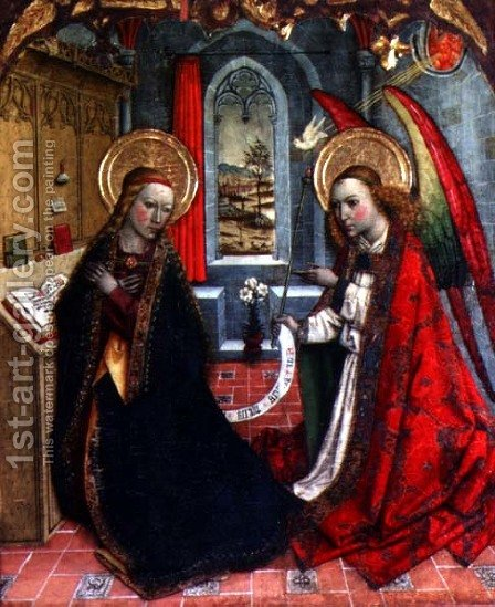 The Annunciation by Jaume Huguet - Reproduction Oil Painting
