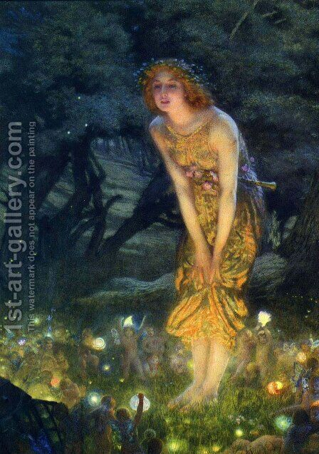 Midsummer Eve by Edward Robert Hughes - Reproduction Oil Painting