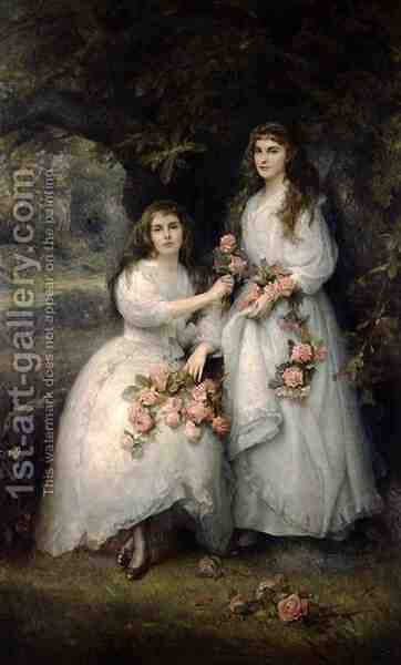 Portrait of the Daughters of the Duke of Manchester by Edward Hughes - Reproduction Oil Painting