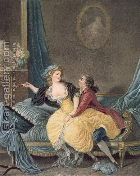 The Broken Fan by (after) Huet, Jean-Baptiste - Reproduction Oil Painting