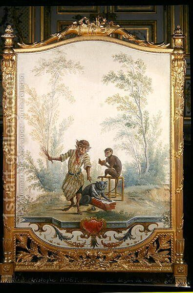 Screen depicting a monkey reading lesson by (attr. to) Huet, Christophe - Reproduction Oil Painting