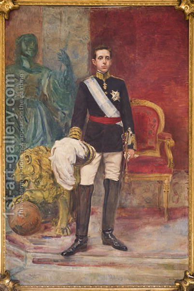 His Majesty King Alfonso XIII by Carlos Angel Diaz Huertas - Reproduction Oil Painting