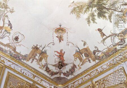 Detail of the ceiling of La Grande Singerie by Christophe Huet - Reproduction Oil Painting