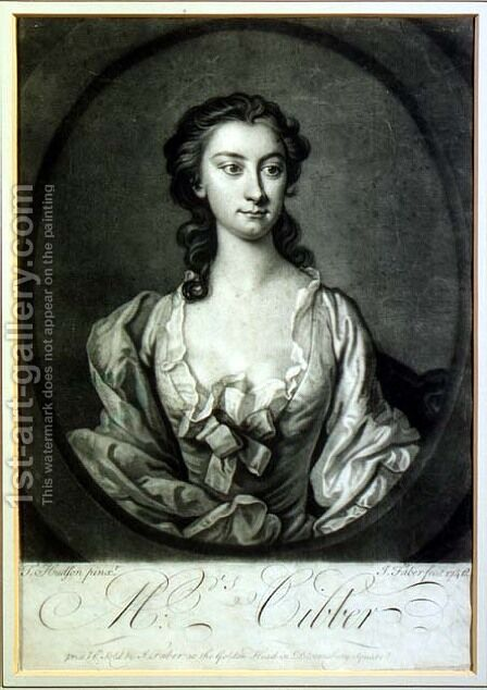 Portrait of Mrs Cibber 1714-66 actress and singer by (after) Hudson, Thomas - Reproduction Oil Painting