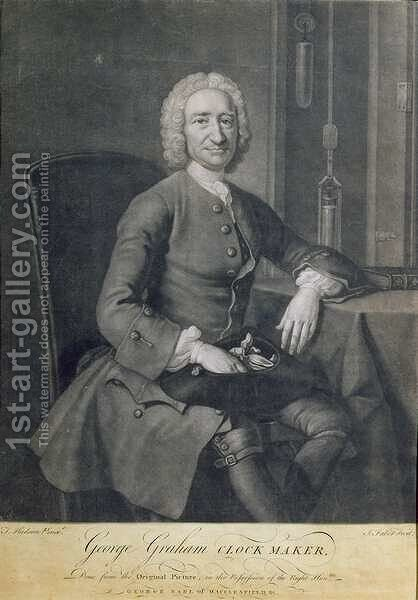 Portrait of George Graham 1673-1751 Clockmaker by (after) Hudson, Thomas - Reproduction Oil Painting