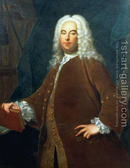 Portrait of George Frederick Handel 1685-1759 by (after) Hudson, Thomas - Reproduction Oil Painting