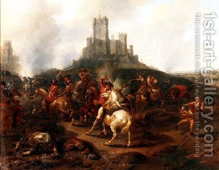 A cavalry skirmish before a fortress by (attr. to) Huchtenberg, Jan van - Reproduction Oil Painting
