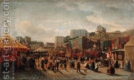 A Fair Place Saint Pierre Montmartre in 1861 by Hubert - Reproduction Oil Painting