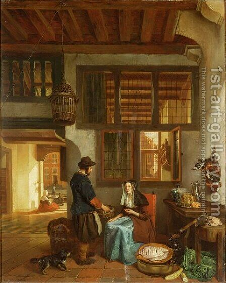A Dutch interior by Hubertus van Hove - Reproduction Oil Painting