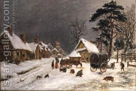 Snow Scene by Hopkins Horsley Hobday Horsley - Reproduction Oil Painting