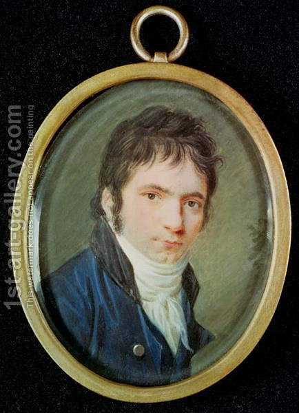 Miniature Portrait of Ludwig Van Beethoven 1770-1827 by Christian Hornemann - Reproduction Oil Painting