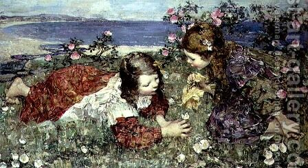 Butterflies by Edward Atkinson Hornel - Reproduction Oil Painting