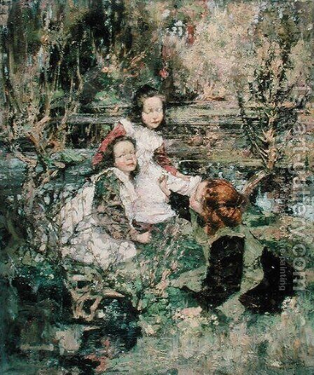 Gathering Primroses by Edward Atkinson Hornel - Reproduction Oil Painting