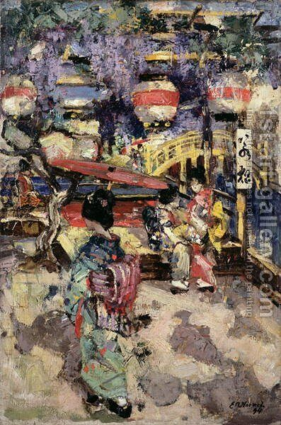 Japanese Street Scene with Lanterns and Bridge by Edward Atkinson Hornel - Reproduction Oil Painting