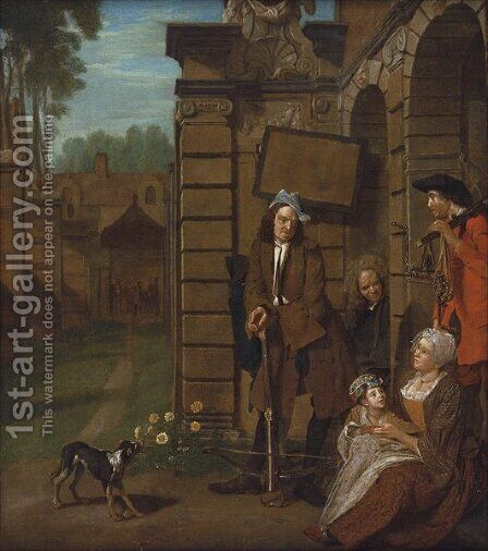A group of figures at crossbow practice by Jan Josef, the Elder Horemans - Reproduction Oil Painting