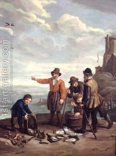 Fishermen on a Beach by Jan Josef, the Elder Horemans - Reproduction Oil Painting