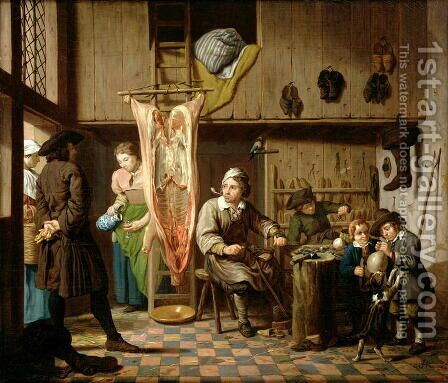 A Cobbler in his Workshop by Jan Josef, the Elder Horemans - Reproduction Oil Painting