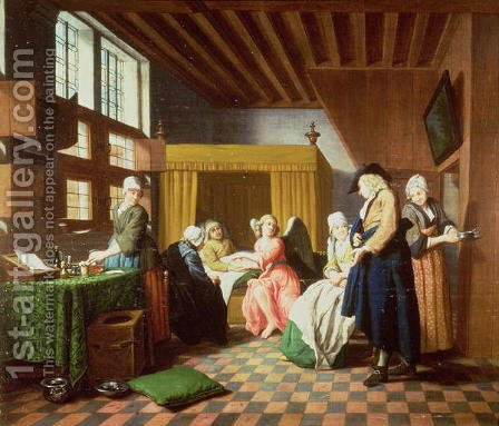The Doctors Visits  A Dutch Proverb The Doctor is Portrayed as an Angel Administering Aid to the Sick Man by Jan Josef, the Elder Horemans - Reproduction Oil Painting