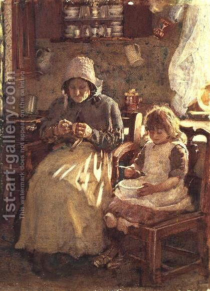 Grandmother and Child Yorkshire by Henry Silkstone Hopwood - Reproduction Oil Painting