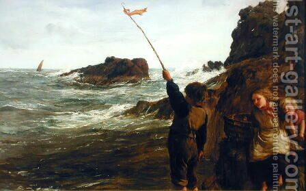 Caught by the Tide by James Clarke Hook - Reproduction Oil Painting