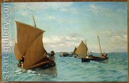 Luggers Picking up Moorings by Allan J. Hook - Reproduction Oil Painting