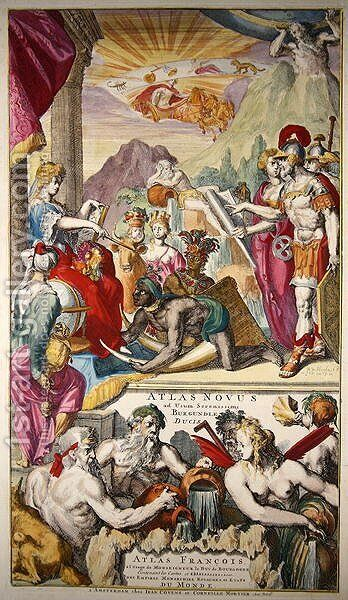 Title page of Atlas Novus ad usum Serenissimi Burgundiae Ducis depicting Europa receiving tribute from the peoples of Asia Africa and America by (after) Hooghe, Romeyn de - Reproduction Oil Painting