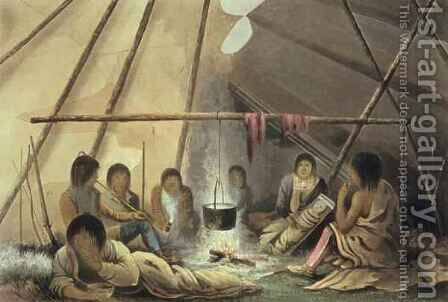 Interior of a Cree Indian Tent by (after) Hood, Lieutenant - Reproduction Oil Painting