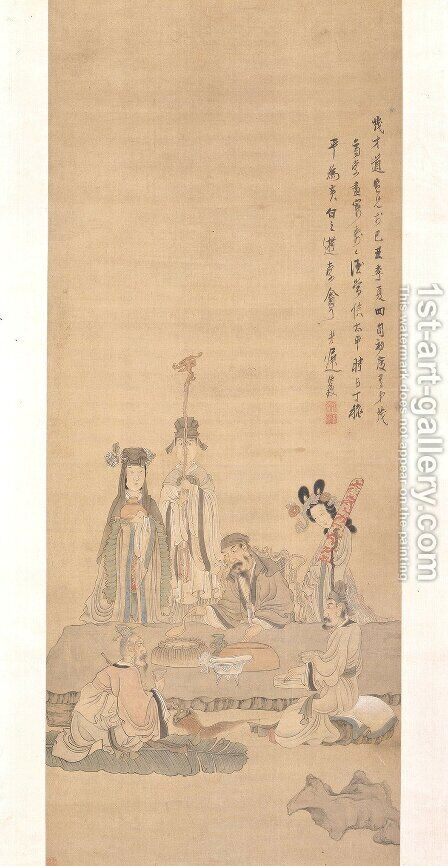 Immortals Celebrating a Birthday by Chen Hongshou - Reproduction Oil Painting