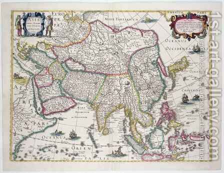 General map including Arabia Japan the Korean peninsula and the greater part of the Indonesian archipelago by Hendrik I Hondius - Reproduction Oil Painting