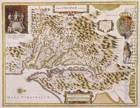 John Smiths Map of Virginia by Hendrik I Hondius - Reproduction Oil Painting