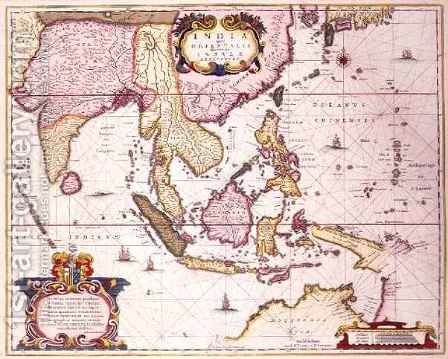 General map extending from India to southern Japan and northern Australia by way of the Indonesian archipelago and the Philippines by Hendrik I Hondius - Reproduction Oil Painting