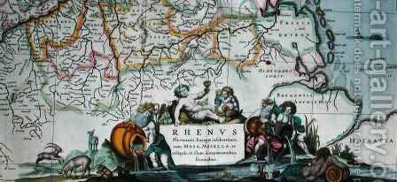 Cartouche of a map of the course of the Rhine by Hendrik I Hondius - Reproduction Oil Painting