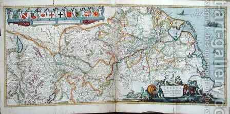 Map of the course of the River Rhine by Hendrik I Hondius - Reproduction Oil Painting