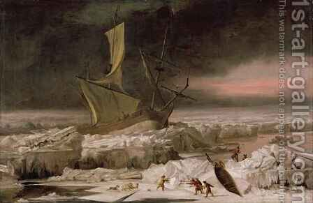 Arctic Adventure or A Ship in Distress off Greenland by Abraham Danielsz Hondius - Reproduction Oil Painting