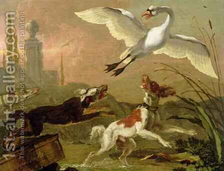 Swan being chased by three dogs by Abraham Danielsz Hondius - Reproduction Oil Painting