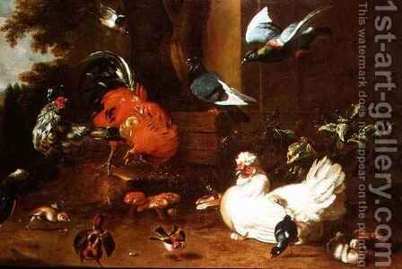 Poultry in Parkland by (attr. to) Hondecoeter, Melchior de - Reproduction Oil Painting