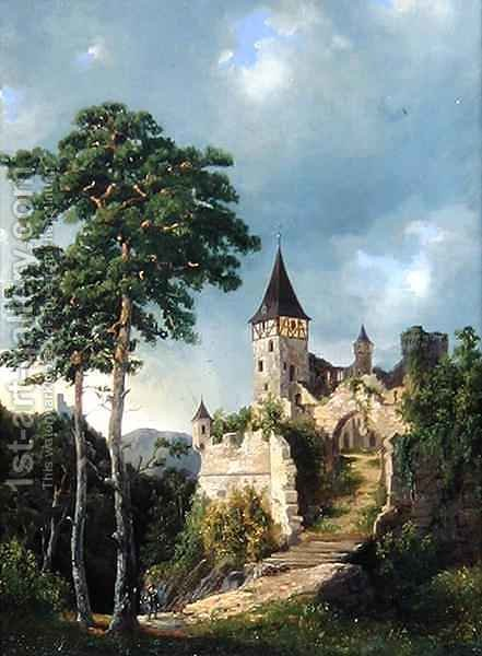 Castle in the Mountains by Adolf Rudolf Holtzhaub - Reproduction Oil Painting