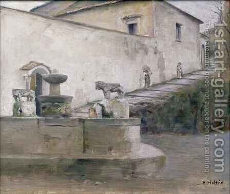 The Fountain Italy by Carl Vilhelm Holsoe - Reproduction Oil Painting