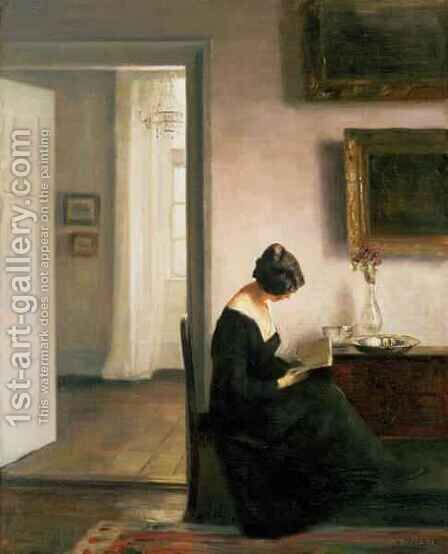 Woman Reading in an Interior by Carl Vilhelm Holsoe - Reproduction Oil Painting