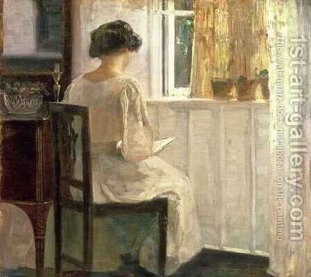 Girl Reading in a Sunlit Room by Carl Vilhelm Holsoe - Reproduction Oil Painting