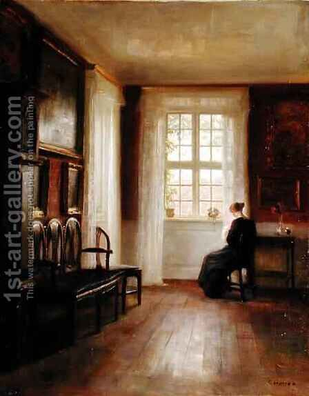 Interior with Woman Sewing by Carl Vilhelm Holsoe - Reproduction Oil Painting