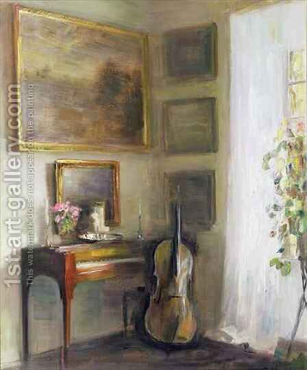 Interior with Cello and Spinet by Carl Vilhelm Holsoe - Reproduction Oil Painting