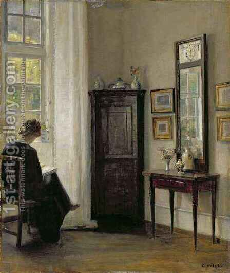 Interior with Woman Reading by Carl Vilhelm Holsoe - Reproduction Oil Painting