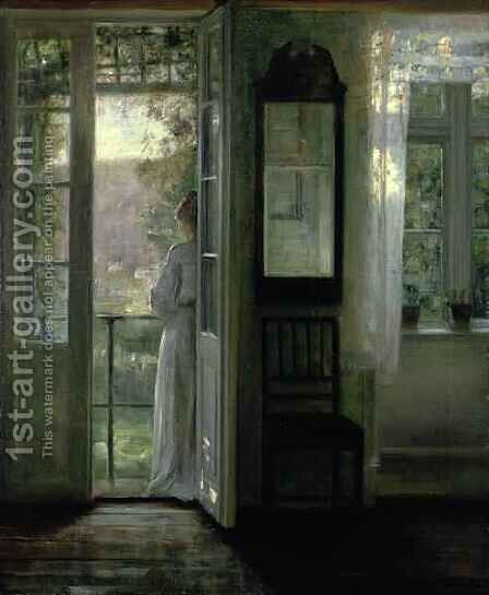Girl Standing on a Balcony by Carl Vilhelm Holsoe - Reproduction Oil Painting